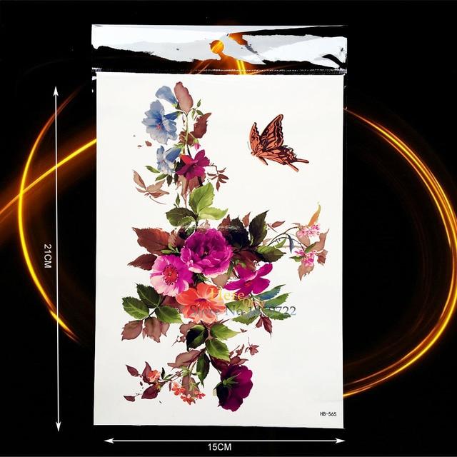 f01b2058f Petunia Peony Flower Painting Temporary Tattoo Sticker Women Body Art  Butterfly Decals Waterproof Arm Fake Tattoo