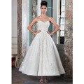 Чай длина свадебные платья 2016 милая off-the-плечи спинки аппликация линии короткое свадебное платье для пляжа свадьбы