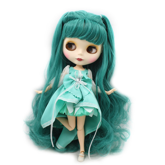 Nude Blyth Doll For Series No.280BL1206 Joint body Dusty Green hair Suitable For DIY Change BJD Toy Factory Blyth 2