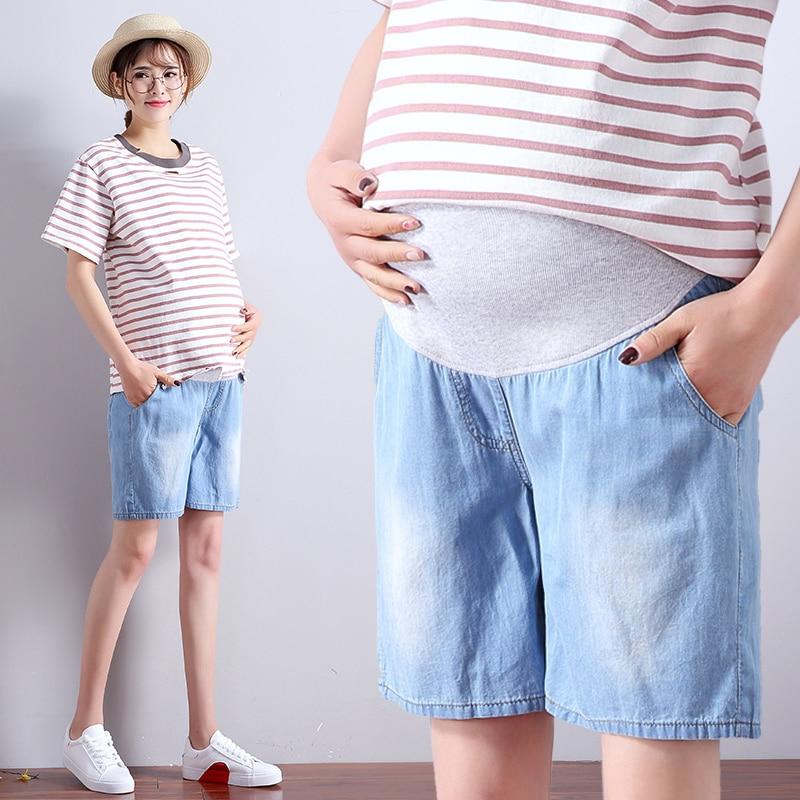 c0e32d707b 2019 summer maternity jeans short for pregnant women breathable pregnancy  clothes comfortable love print abdominal denim shorts