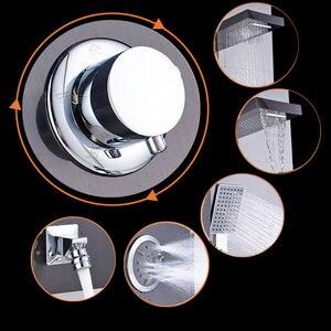 Image 3 - 닦 았된 니켈 샤워 패널 샤워 열 벽 마운트 비 폭포 샤워 꼭지 타워 단일 핸들 믹서 꼭지
