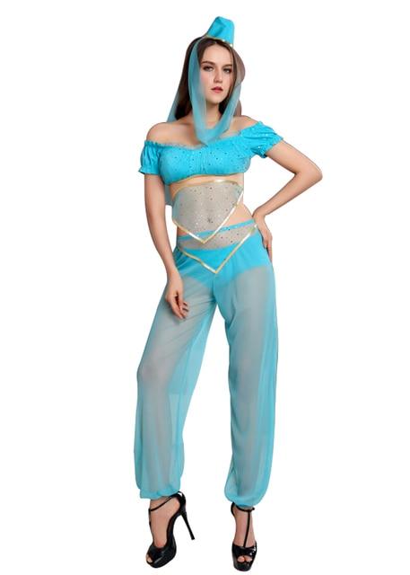 Halloween Costume Genie Vilanya Short Sleeve 4 Pieces Sequinded