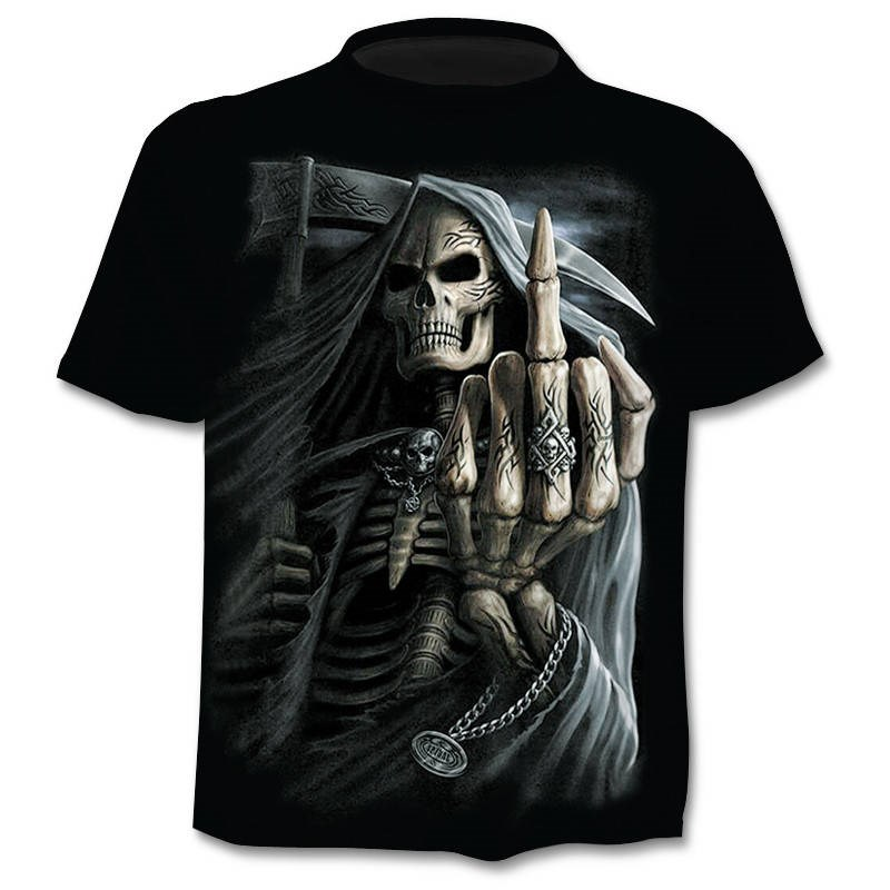 New Mens Skull   T     shirts   Brand punk style finger skull 3Dt-   shirts   Men Tops Hip hop 3d print skull punisher   T  -  shirt   dropshipping