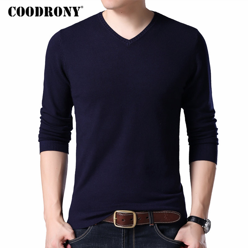 COODRONY Sweater Pullover Men Clothes 2018 Autumn Winter Knitted Wool Sweaters Slim Fit Pure Color Casual V-Neck Pull Homme 8214