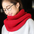 2017 popular style solid color Ring Women scarves Knitted Wool Neck Cowl Wrap shawl thicken winter warm Ring Loop scarf women