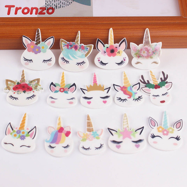 05759add73657f Tronzo Cute Unicorn Head Planar Resin Unicorn Party Mini Cartoon Unicorn  Head Birthday Party Decorations Kids Hair Accessories