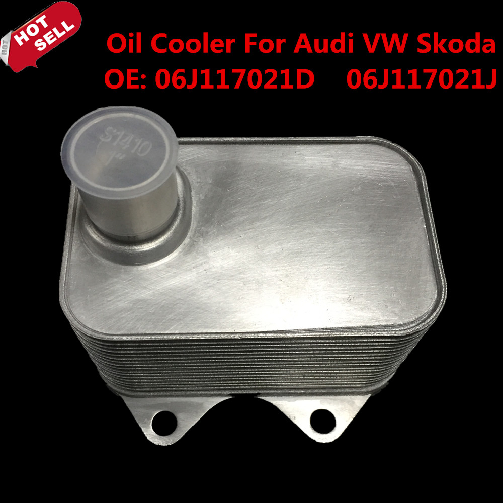 hight resolution of engine oil cooler for audi a3 a4 a5 tt q5 vw skoda seat oe 06j117021d 06j117021j car styling