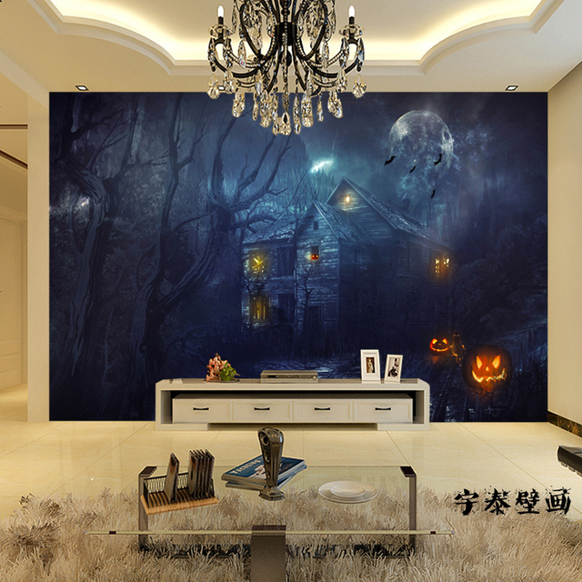 Free Shipping 3D Stereoscopic Mysterious Forest Wallpaper Room Escape Haunted House Horror Background Bar Decorative Large