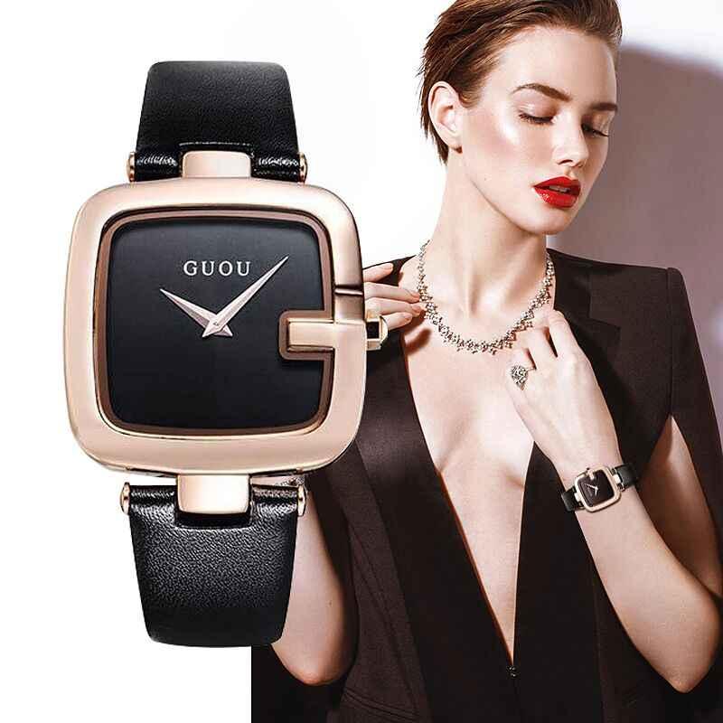 GUOU Orologi da Donna 2019 Fashion Square zegarek damski Lusso del Braccialetto Delle Signore Orologi Per Le Donne Della Cinghia di Cuoio Orologio Saati