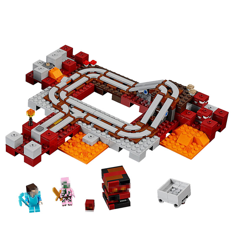 418pcs My World Series Building Blocks Compatible Legoingly Minecrafted The Nether Railway Bricks Kits Educational Toys For Kids Model Building Blocks
