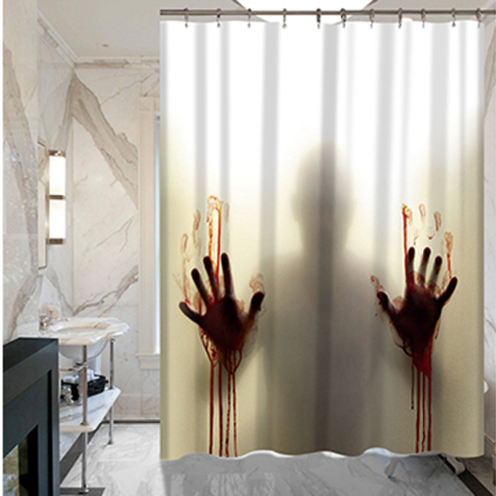 Hand Horror Custom Shower Curtain Bathroom Decoration Scary House Decor Silhouette Waterproof For Lavatories Supplies