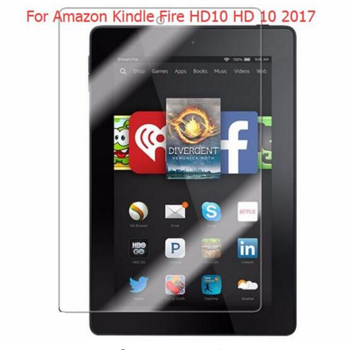 9H Tempered Glass Screen Protector Film for Amazon Kindle Fire HD10 HD 10 2017 10.1 Tablet + Alcohol Cloth + Dust Absorber new 9h glass tempered for huawei mediapad t5 10 tempered glass screen film for huawei mediapad t5 10 inch tablet screen film