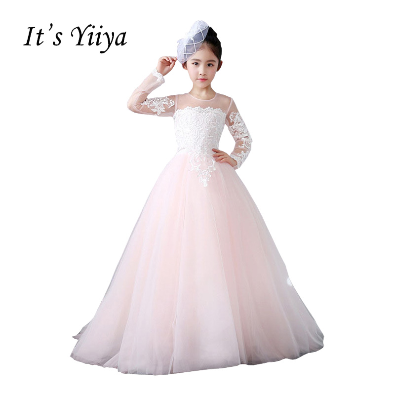 It's YiiYa Pink Long Sleeves Illusion Button Lace   Flowers   Trailing Gown Ball Gowns Princess   Flower     Girls     Dress   Communion TS280
