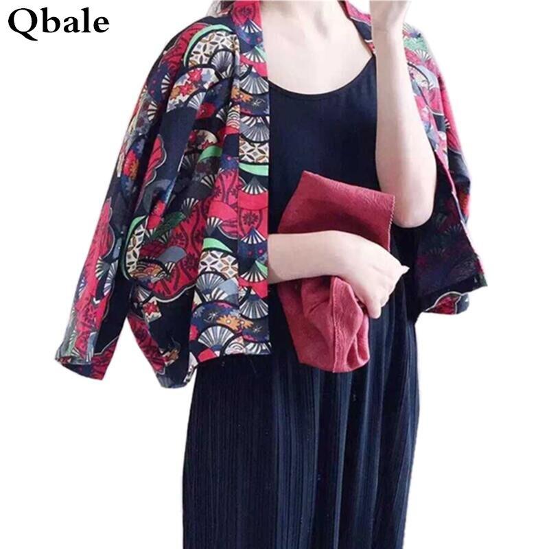 Qbale Kimono cardigan women Vintage Japanese Style Cute Cropped ...