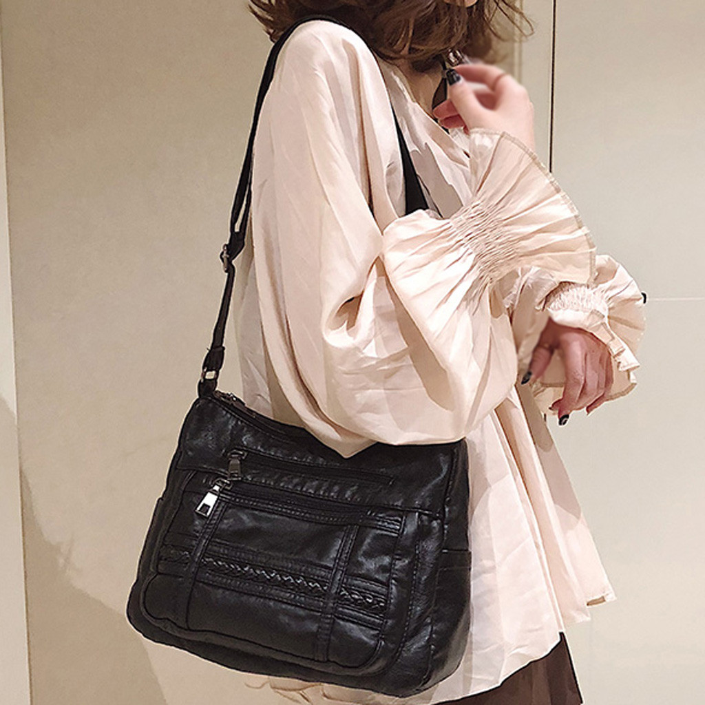 Women's Fashion Messenger Bag Black Messenger Bag Shoulder Bag Casual Wild  Casual Female Bags Trunk Tote Shoulder Bag Ladies
