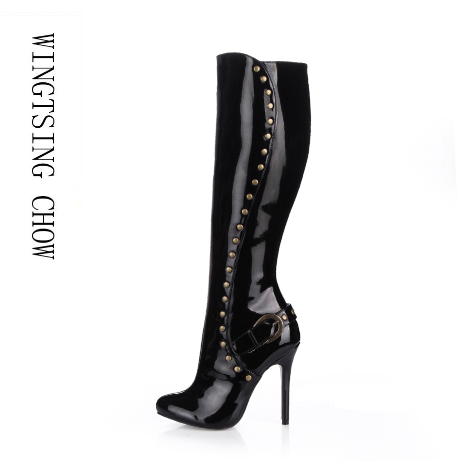 2016 Winter Black Pearl Sexy Party Shoes Women Stiletto High Heels Rivet Buckle Ladies Knee-High Boots Zapatos Mujer 0640cbt-m2 цены онлайн