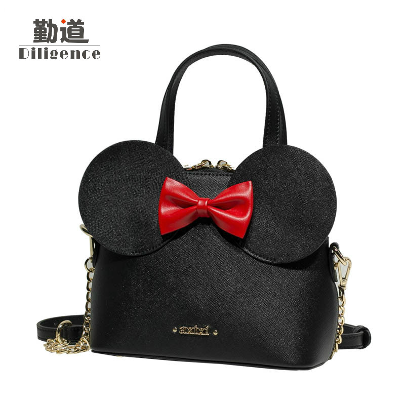 Fashion Handbags Pu Leather Women Shoulder Bag Mickey Big Ears Shell Sweet Bow Chains Crossbody Female Mini Small Messenger Bag fashion handbags pu leather women shoulder bag mickey big ears shell sweet bow chains crossbody female mini small messenger bag