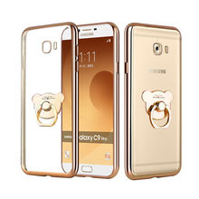 Soft Gold-plated With Ring Holder Case Cover For Samsung Galaxy S6 S7 Edge S8 S9 Plus Note 8 J3 j5 j7 Neo NXT A3 A5 A7 2016 2017(China)