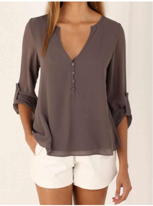 2018 женские рубашки Лето Осень Повседневная шифоновая блузка с v-образным вырезом женский топ Camisa Feminina с длинным рукавом черные женские блузки рубашка