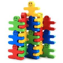 16 adet karikatür denge kötü blokları Montessori eğitim ahşap renkli erken öğrenme egzersiz hediyeler oyuncaklar çocuklar çocuklar için
