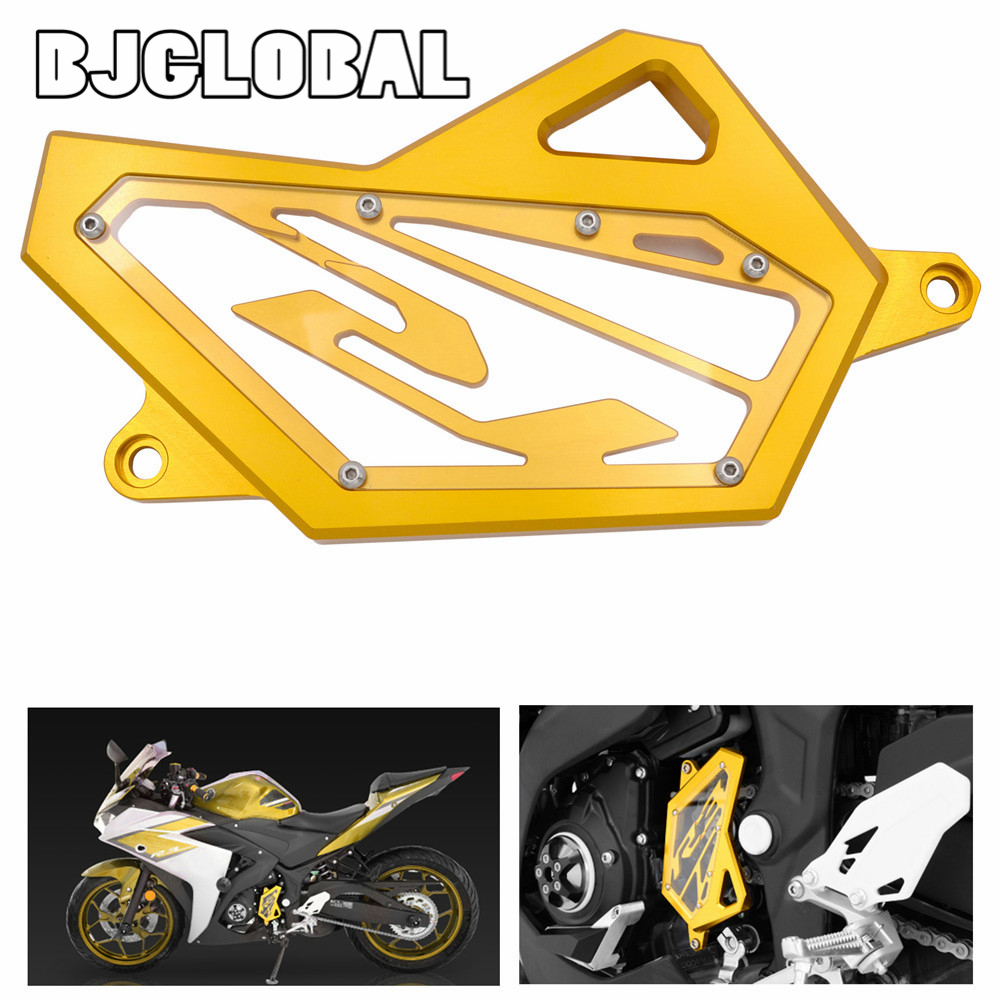 Motorcycle CNC Aluminum Front Sprocket Chain Guard Cover Left Side Engine For Yamaha YZF R3 R25 2014 2015 2016 Motorbike