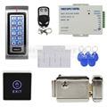 DIYSECUR Control Remoto 125 KHz RFID ID Lector de Tarjetas de Metal Kit de Sistema de Seguridad de Control de Acceso + Cerradura Electrónica + Touch botón