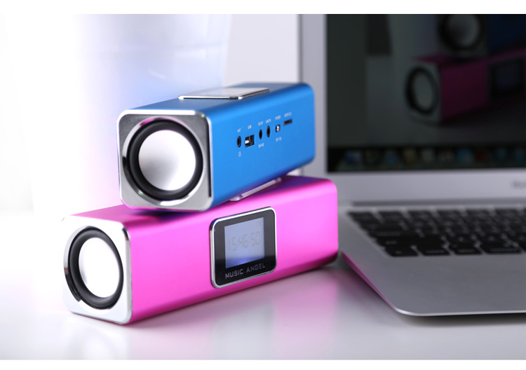 Original New MUSIC ANGEL JH-MAUK5B LCD Screen Active Audio FM USB Wireless Portable Mini Speaker with SD/TF
