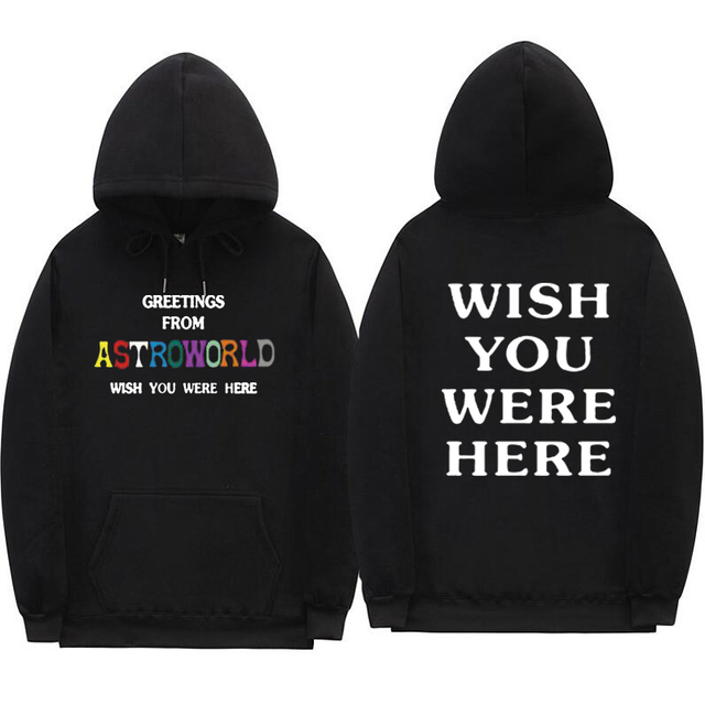 b426b66e2c33 Print GREETINGS FROM Astroworld WISH YOU WERE HERE hoodies Fashion hip hop  streetwear Man woman Travis Scott hoodie Sweatshirt