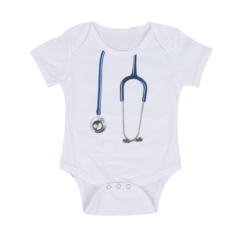 Puseky Doctor Baby Boy Bodysuit Short Sleeve Summer Baby Clothes Newborn Jumpsuits Bebe Clothing Infant Bodysuits 0-24M