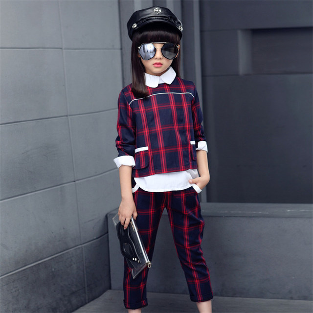 British Style Plaid Clothing Set Girls 2017 New Fashion Cotton Teen Girls Brand Set Pullover & Pants Kids Children Set For Girl