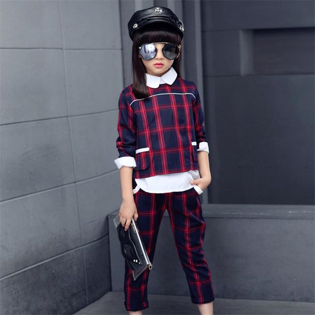 Estilo britânico Xadrez Conjunto de Roupas Meninas 2017 Nova Moda de Algodão Adolescente meninas Marca Set Pullover & Calças Das Crianças Dos Miúdos Conjunto Para Menina