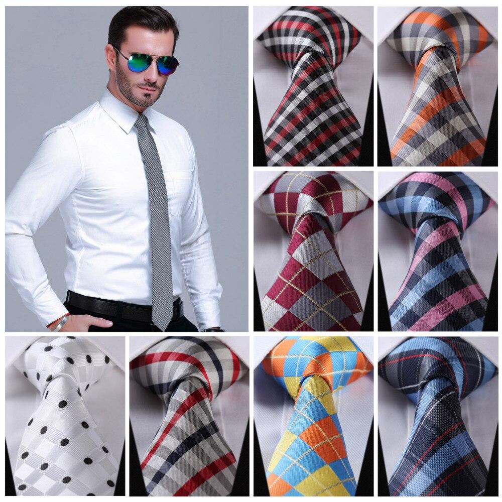 "Check 3.4"" 100%Silk Wedding Party Jacquard Woven Classic Men Tie Necktie CI"