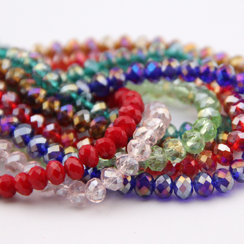 4*6 MM Colourful Crystal Glass Beads, Multifacet Multipurpose Decorative Beads Approx 100pcs Per String Beading Strand