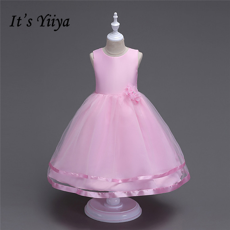 It's YiiYa Real Picture 6 Pure Colors Sleeveless O-Neck Lace Pattern Kids Princess   Flower     Girls     Dress   Tulle Communion TS056