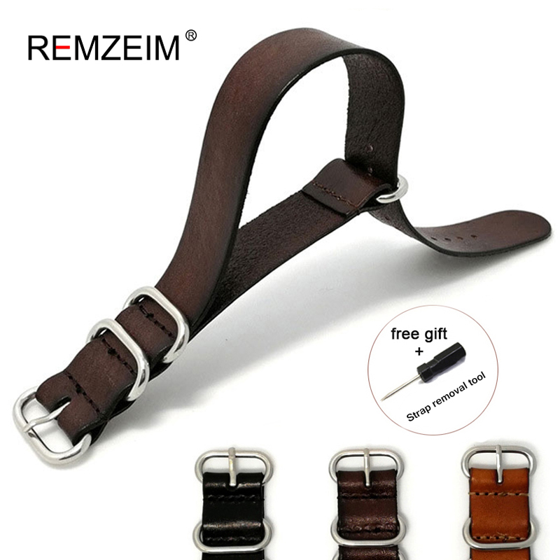 18MM 20MM 22MM 24mmNato Strap Genuine Leather Dark Brown Color Watch Band NATO Leather Straps Zulu Strap Clock Replacement(China)