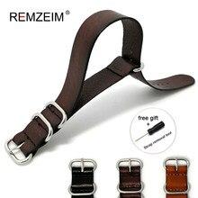 18mm 20mm 22mm 24mmnato pulseira de couro genuíno marrom escuro cor pulseira de relógio nato correias de couro zulu pulseira relógio substituição