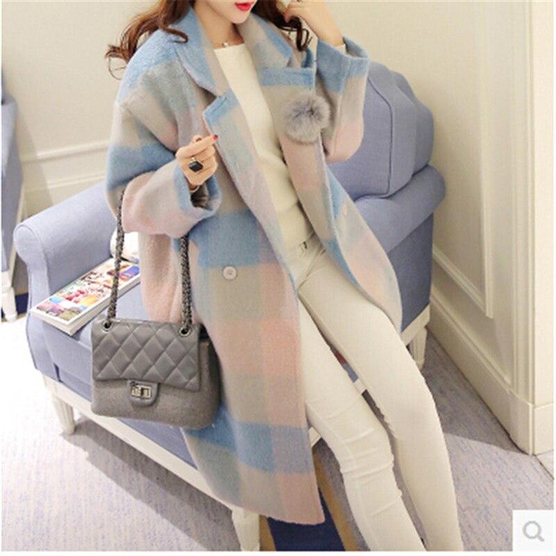 cou Zx1366 Show Confortable V Mode Femmes Nouveau Lâche Tempérament Double Breasted Plaid Femme Casual As Laine Hiver Manteaux Tweed pRqwt4xa