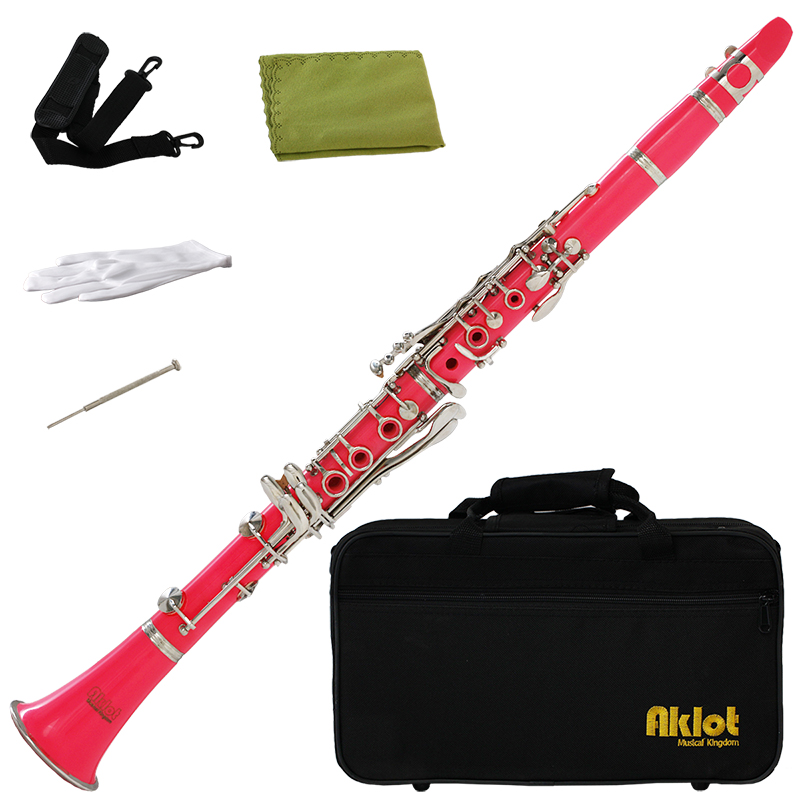 Aklot Bb Beginner Clarinet 17 Keys with Durable Pink ABS Body with Reed Best for Student Music Education