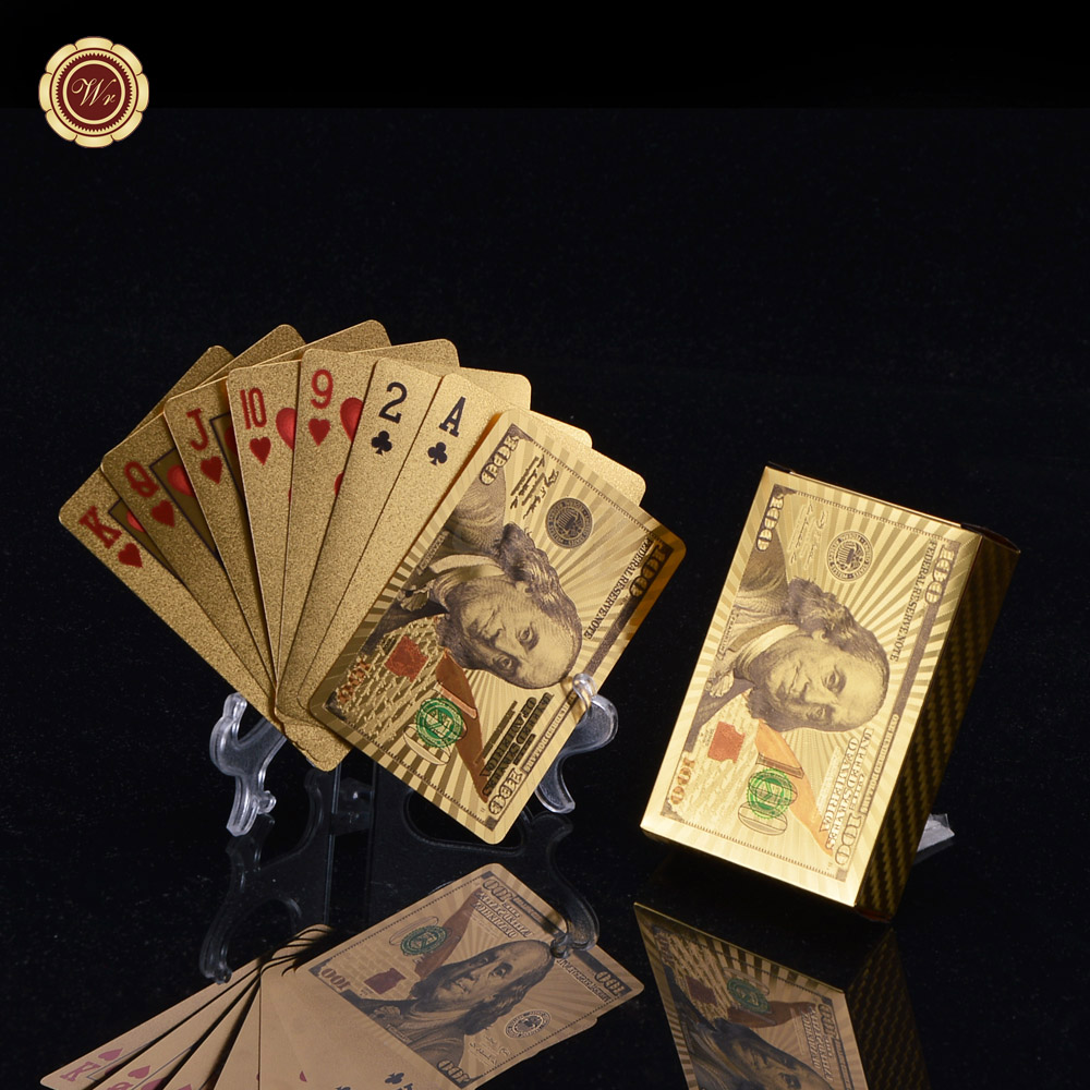 WR USD 100 Game Cards Home Decor Quality Gold Foil Plated Poker US Dollar Gold Plated Playing Cards Outdoor Activity