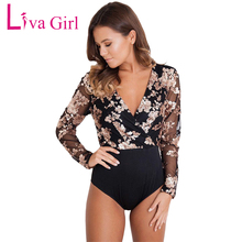 Liva Girl Women Sexy Bodysuit Sequin Bodysuits Long Sleeve Deep Neck Mesh Black Bodycon Bodysuit Elegant Jumpsuit Body Feminino(China)