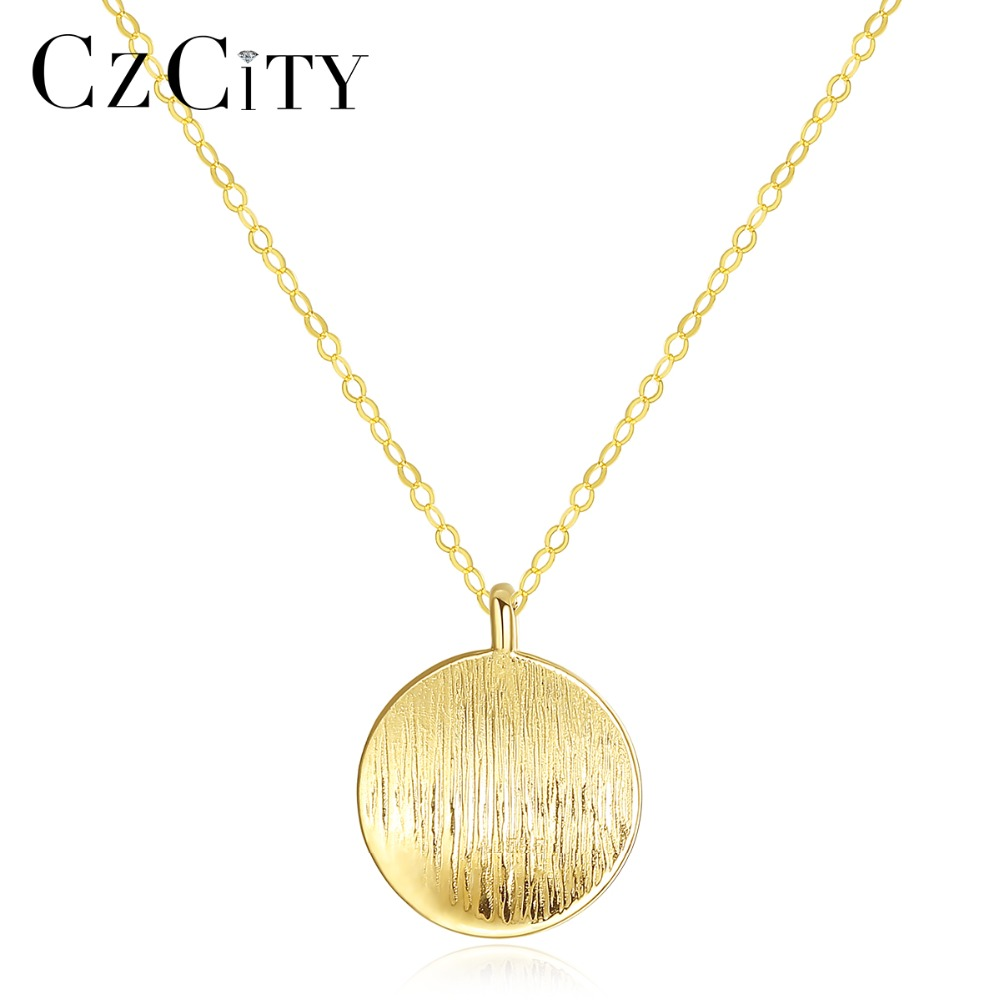 CZCITY Minimalist 14K Gold Round Brushed Pendant Necklace for Women Au585 Personality Choker Necklace 14K Yellow