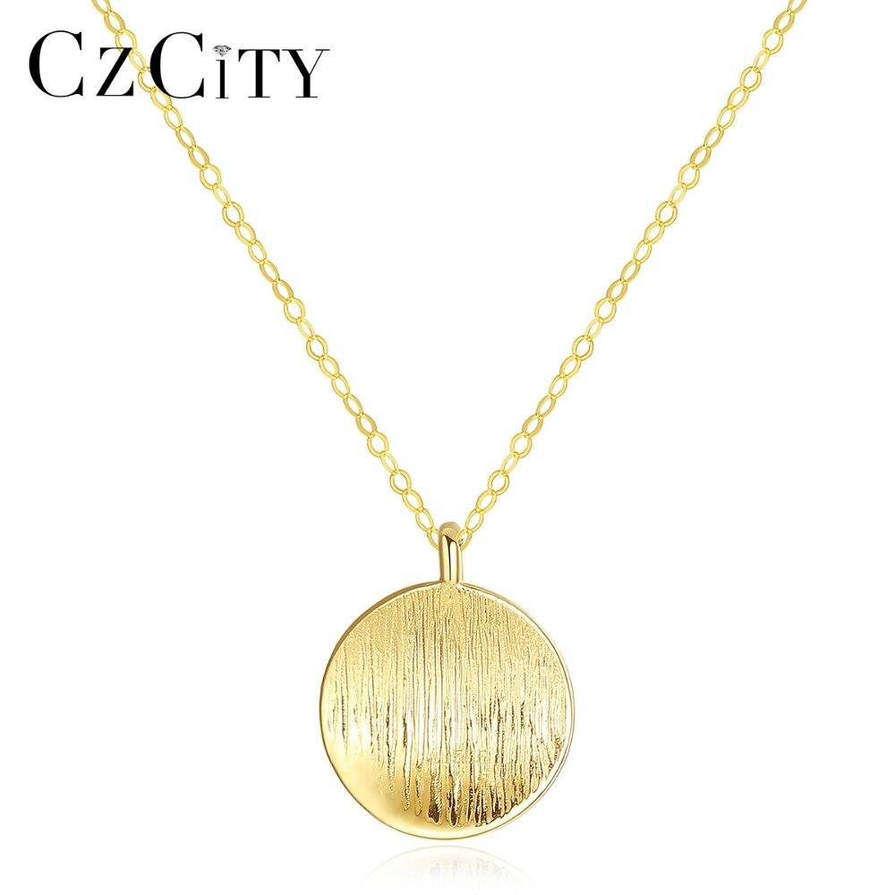 CZCITY minimaliste 14 K or rond brossé pendentif collier pour femmes Au585 personnalité collier ras du cou 14 K or jaune bijoux
