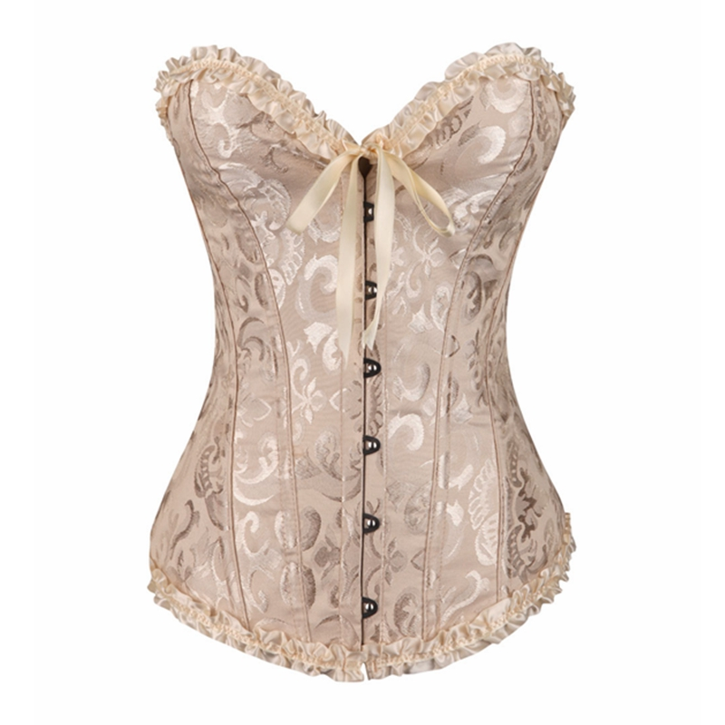 Overbust   Corset   Sexy Lace Plus Size Erotic No Zipper Floral Women   Bustier     Corset   Lingerie Tops Brocade Victorian DropShipping