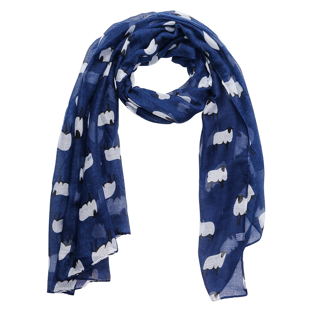 Women Sheep Print Scarf Fashion Farm Animal Lady Wrap Neck Shawl Soft Stole Hot echarpe femme hiver