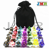 Best Price 7 Sets of Transparent Mix Opaque Color Polyhedron Rpg Dnd Gaming Dice with A High Quality Portable Bag for Game