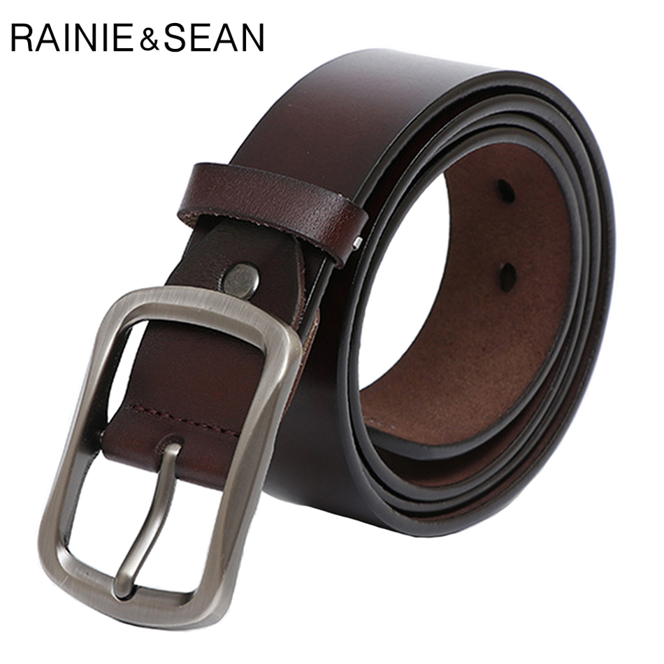 RAINIE SEAN Pin Buckle Belt For Trousers Vintage Real Leather Belt Coffee Waist Genuine Leather Cowhide Retro Jeans Belts 130cm