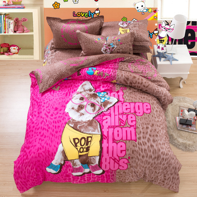 Pink And Brown Leopard Print Dog Bedding Set Twin Queen King Size Duvet Cover  Set Flat