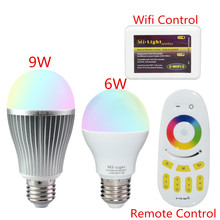 Mi Luz 2.4G Wireless E27 6 W 9 W RGBW RGBWW Llevó la Luz 110 v 220 v Regulable Bombillas Led de La Lámpara Del Bulbo Remoto RF Wifi APP Control