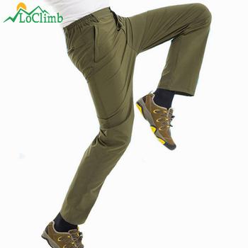 LoClimb męskie elastyczne Ultra cienkie spodnie do wędrówek pieszych mężczyzn letnie oddychające szybkie suche spodnie sportowe na świeżym powietrzu Camping Trekking spodnie AM041 tanie i dobre opinie Pełnej długości Camping i piesze wycieczki Poliester spandex Zipper fly Gore tex Pasuje prawda na wymiar weź swój normalny rozmiar
