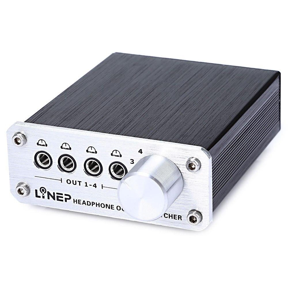 Наушники Elistooop с 4 входами и 4 выходами, гарнитура с разъемом 3,5 мм для MP3, переключатель аудиосигнала, цифровой многоканальный переключатель, ...